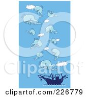 Royalty Free RF Clipart Illustration Of A Dead Whals Floating In The Sky Above A Whaling Ship Over Blue