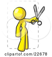 Clipart Illustration Of A Yellow Lady Character Snipping Out A Coupon With A Pair Of Scissors Before Going Shopping by Leo Blanchette