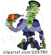 Royalty Free RF Clipart Illustration Of Frankenstein Drilling His Head Back On Or Taking It Off by Zooco