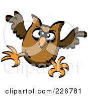 Royalty Free RF Clipart Illustration Of A Crazy Witch Owl by Zooco
