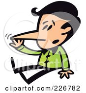 Royalty Free RF Clipart Illustration Of A Boy Sitting And Touching His Growing Liar Nose