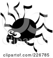 Royalty Free RF Clipart Illustration Of A Creepy Black And White Spider by Zooco