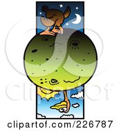 Royalty Free RF Clipart Illustration Of A Globe Trotter Ostrich Sticking His Head All The Way Through A Globe by Zooco