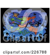 Royalty Free RF Clipart Illustration Of A Green Witch Pointing And Flying On Her Broomstick With An Owl Spider Cat Snake And Frog Over A Village by Zooco