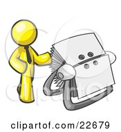 Clipart Illustration Of A Yellow Businessman Standing Beside A Rotary Card File With Blank Index Cards by Leo Blanchette