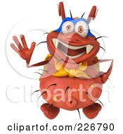 Royalty Free RF Clipart Illustration Of A 3d Rodney Germ Super Hero Looking Up And Waving