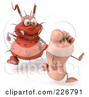 Royalty Free RF Clipart Illustration Of A 3d Rodney Germ Chasing A Foot 1
