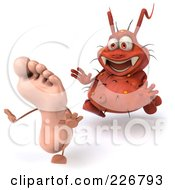 Royalty Free RF Clipart Illustration Of A 3d Rodney Germ Chasing A Foot 2
