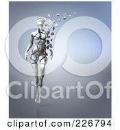 Royalty Free RF Clipart Illustration Of A 3d Female Figure Walking And Breaking Apart Into Pieces Symbolizing Aging 1 by Julos