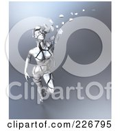 Royalty Free RF Clipart Illustration Of A 3d Female Figure Walking And Breaking Apart Into Pieces Symbolizing Aging 2