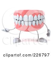 Royalty Free RF Clipart Illustration Of A 3d Dentures Character Gesturing 1 by Julos