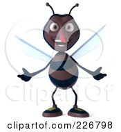 Royalty Free RF Clipart Illustration Of A 3d Skeeter Character Welcoming by Julos