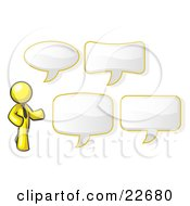 Yellow Businessman With Four Different Word Bubbles