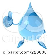 Royalty Free RF Clipart Illustration Of A 3d Water Droplet Holding A Thumbs Up 2