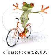 Royalty Free RF Clipart Illustration Of A 3d Springer Frog Riding A Bicycle 4