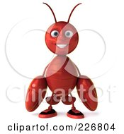 Royalty Free RF Clipart Illustration Of A 3d Lobster Facing Front