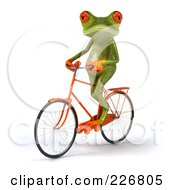 Royalty Free RF Clipart Illustration Of A 3d Springer Frog Riding A Bicycle 2