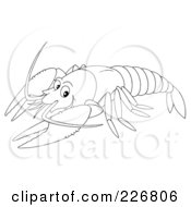 Royalty Free RF Clipart Illustration Of A Coloring Page Outline Of A Lobster by Alex Bannykh