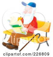 Royalty Free RF Clipart Illustration Of An Airbrushed Senior Man Reading On A Bench by Alex Bannykh