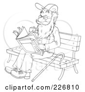 Royalty Free RF Clipart Illustration Of A Coloring Page Outline Of A Senior Man Reading On A Bench by Alex Bannykh