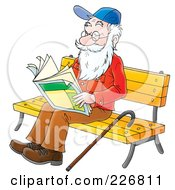 Royalty Free RF Clipart Illustration Of A Senior Man Reading On A Bench