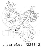 Royalty Free RF Clipart Illustration Of A Coloring Page Outline Of A Snake In A Tree