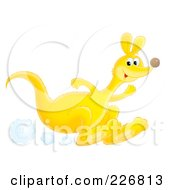 Royalty Free RF Clipart Illustration Of A Hopping Yellow Kangaroo