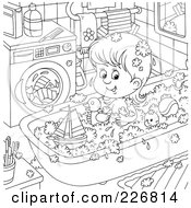 Royalty Free RF Clipart Illustration Of A Coloring Page Outline Of A Girl Playing With Toys In The Tub by Alex Bannykh
