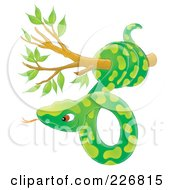 Royalty Free RF Clipart Illustration Of An Airbrushed Green Snake In A Tree