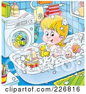 Royalty Free RF Clipart Illustration Of A Girl Playing With Toys In The Tub