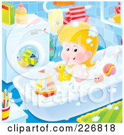 Royalty Free RF Clipart Illustration Of An Airbrushed Girl Playing With Toys In The Tub by Alex Bannykh
