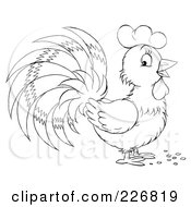 Royalty Free RF Clipart Illustration Of A Coloring Page Outline Of A Cute Rooster by Alex Bannykh
