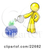 Yellow Man Using A Watering Can To Water New Grass Growing On Planet Earth Symbolizing Someone Caring For The Environment