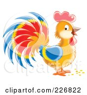 Royalty Free RF Clipart Illustration Of A Cute Colorful Rooster by Alex Bannykh
