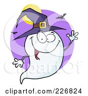 Royalty Free RF Clipart Illustration Of A Cute Halloween Ghost Wearing A Witch Hat And Waving Over A Purple Circle