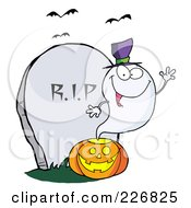 Cute Halloween Ghost Wearing A Witch Hat And Waving Over A Pumpkin By A Tombstone