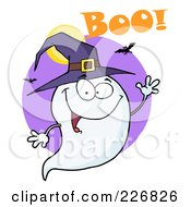 Royalty Free RF Clipart Illustration Of A Halloween Ghost Wearing A Witch Hat And Waving Over A Purple Circle With Boo by Hit Toon