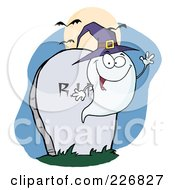 Royalty Free RF Clipart Illustration Of A Waving Halloween Ghost Wearing A Purple Witch Hat By A Tombstone