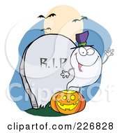Royalty Free RF Clipart Illustration Of A Waving Halloween Ghost Wearing A Witch Hat Over A Pumpkin By A Tombstone by Hit Toon