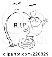 Royalty Free RF Clipart Illustration Of A Coloring Page Outline Of A Halloween Ghost Wearing A Witch Hat And Waving Over A Pumpkin By A Tombstone by Hit Toon