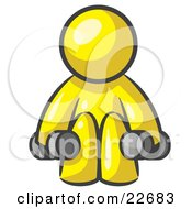Clipart Illustration Of A Yellow Man Lifting Dumbells While Strength Training