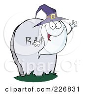 Cute Halloween Ghost Wearing A Purple Witch Hat And Waving By A Tombstone