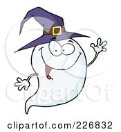 Royalty Free RF Clipart Illustration Of A Cute Halloween Ghost Wearing A Purple Witch Hat And Waving by Hit Toon