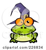 Royalty Free RF Clipart Illustration Of A Spotted Frog Wearing A Witch Hat by Hit Toon