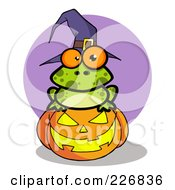 Royalty Free RF Clipart Illustration Of A Spotted Frog Wearing A Witch Hat And Sitting On A Pumpkin by Hit Toon