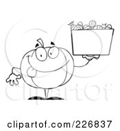 Royalty Free RF Clipart Illustration Of A Coloring Page Outline Of A Jackolantern Holding Up A Bin Of Halloween Candy