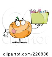 Royalty Free RF Clipart Illustration Of A Happy Jackolantern Holding Up A Bin Of Halloween Candy by Hit Toon