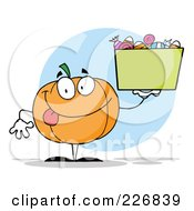 Royalty Free RF Clipart Illustration Of A Happy Pumpkin Holding Up A Bin Of Halloween Candy