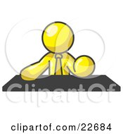 Clipart Illustration Of A Yellow Businessman Seated At A Desk During A Meeting by Leo Blanchette