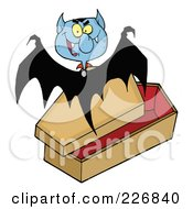 Royalty Free RF Clipart Illustration Of A Vampire Bat Flying Above A Coffin by Hit Toon